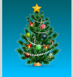 real christmas spruce tree sketch for greeting vector image