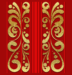 red seamless pattern with golden vertical ornament vector image