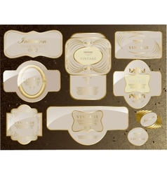 Retro vintage set of white gold label vector