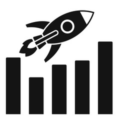 rocket graph up icon simple style vector image