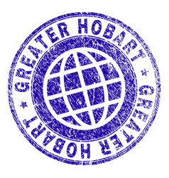 Scratched textured greater hobart stamp seal vector