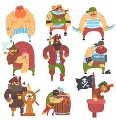 Scruffy pirates cartoon characters set vector