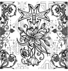 seamless pattern with fantasy crosses 1 vector image