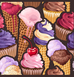 seamless pattern with pink and lilac sweets vector image