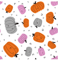 seamless pumpkin pattern on white vector image