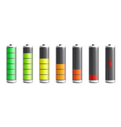 set batteries with power indicator realistic vector image