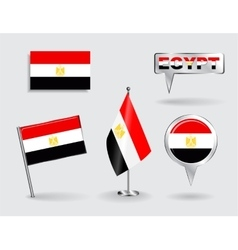 Set of egyptian pin icon and map pointer flags vector