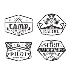 Set of race and camping emblems vector