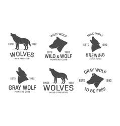 set wolf logo design elements vector image