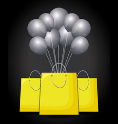 shopping bags with balloons air vector image
