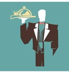 Silhouette of standing waiter holds a tray vector