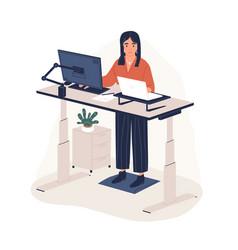 smiling woman employee working at ergonomic vector image