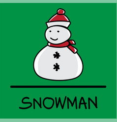 snowman hand-drawn style vector image