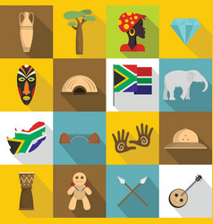 South africa travel icons set flat style vector