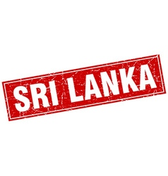 Sri Lanka red square grunge vintage isolated stamp vector