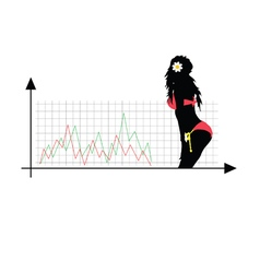 success girl color silhouette vector image