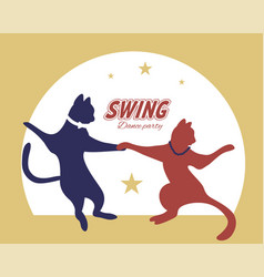 Swing dance couple silhouette cats vector