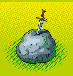 sword in stone comic book style vector image