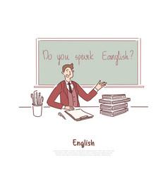 teacher asking question do you speak english vector image