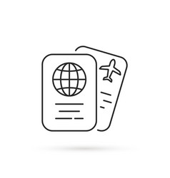 thin line international passport and ticket vector image