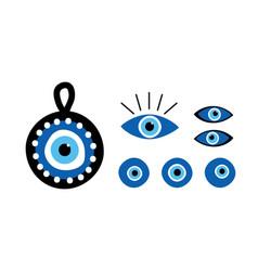 Turkish blue eye-shaped amulets nazar amulets vector
