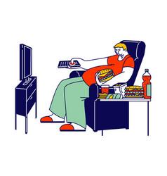 Unhealthy eating bad habit concept fat man vector