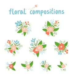 Vintage floral compositions collection vector image
