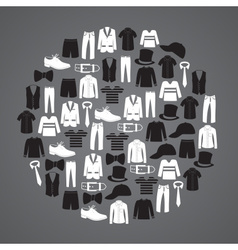 white and black mens clothing icons in circle vector image