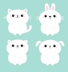 white cat kitten kitty bear dog puppy rabbit vector image