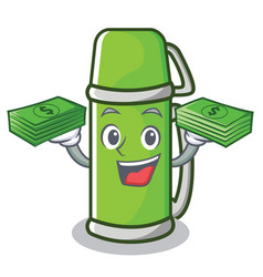 With money thermos character cartoon style vector