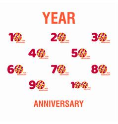 Year anniversary set purple template design vector