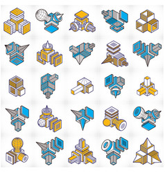 abstract construction isometric designs set vector image vector image