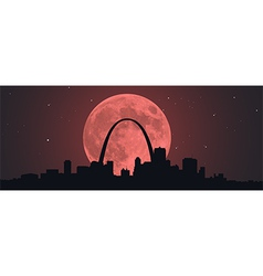 Blood Super Moon Over STL vector image vector image