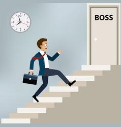 businessman running to boss office vector image