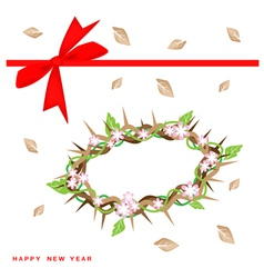 New Year Gift Card with Crown of Thorns vector image vector image