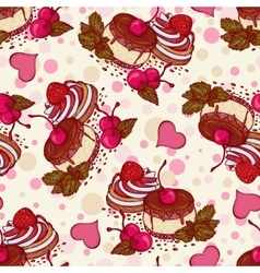 Seamless pattern with cakes cherries strawberries vector image
