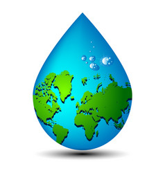 Water drop earth ecology concept vector image