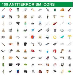 100 antiterrorism icons set cartoon style vector image vector image