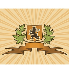 brown shield with lion vector image