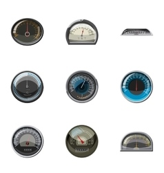 Engine speedometer icons set cartoon style vector image vector image