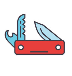 knife army multipurpose swiss folding knife vector image
