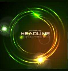 Shiny glowing neon circle swirl abstract vector