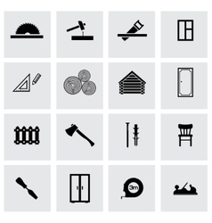 black carpentry icons set vector image vector image