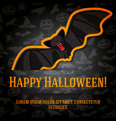 Happy halloween greeting card with black bat vector image