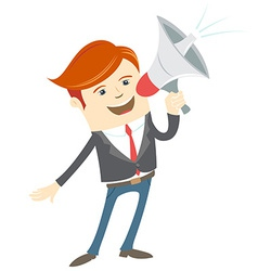 Office man megaphone shouting vector image