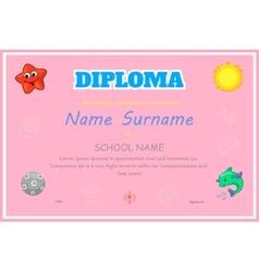 Preschool Kids Diploma certificate background vector image vector image