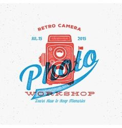 Retro Camera Photo Workshop Label or Logo Template vector image