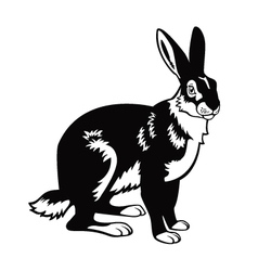 sitting hare black and white image vector image vector image