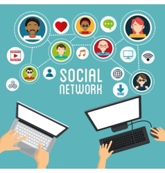 Social media design Networking icon Technology vector image