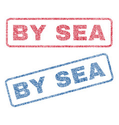 by sea textile stamps vector image vector image